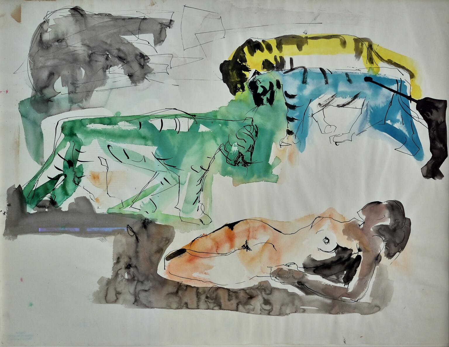 Bild des Werkes mit dem Titel: Vorstudie: Tigre vert et tigre bleu (Grüner Tiger und blauer Tiger)