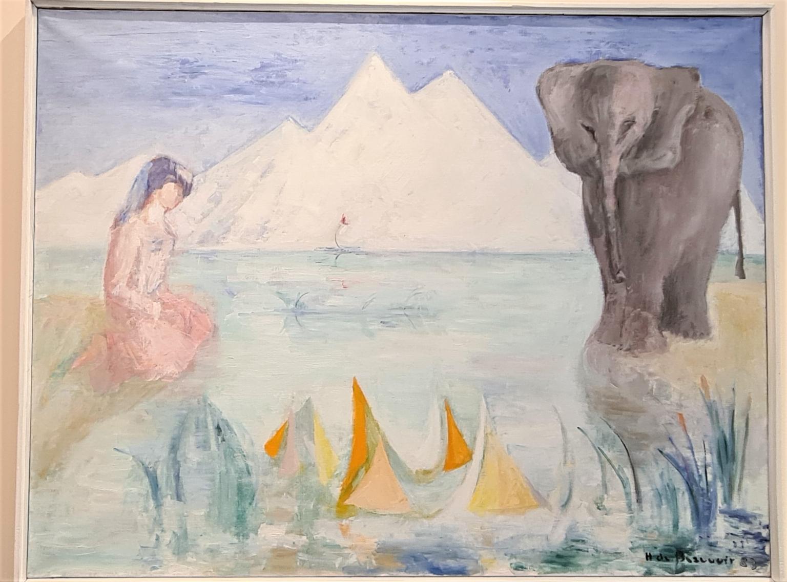 Bild des Werkes mit dem Titel: Au bord de l'eau une dame et un éléphant (Am Rande des Flusses eine Dame und ein Elefant)